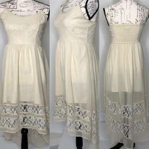 Band of Gypsies Cream Chiffon High Low Lace Dress
